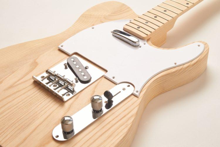 【プレミアム】テレキャスターTYPEキット(ホワイトアッシュボディ・ヘッド加工済み)【DIYギター自作キット】